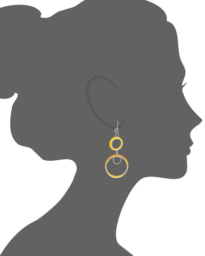 Orange Lucite and Silver Drop Earrings VECTOR