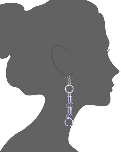 Purple Lucite and Silver Drop Earrings VECTOR