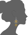 Orange Lucite and Silver Floral Drop Earrings VECTOR