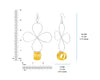 Yellow Lucite and Silver Flower Drop Earrings DIMENSIONS