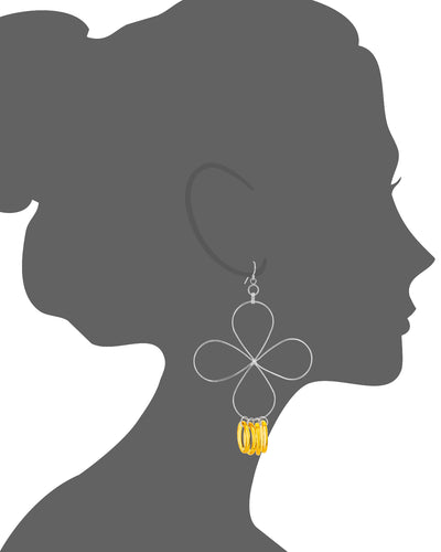 Yellow Lucite and Silver Flower Drop Earrings VECTOR