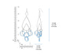 Blue Lucite and Silver Rain Drop Earrings DIMENSIONS