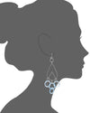 Blue Lucite and Silver Rain Drop Earrings VECTOR
