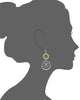 Green Lucite and Silver Floral Drop Earrings VECTOR