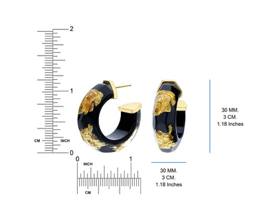 Black and Gold Leaf Lucite Hoops RULER