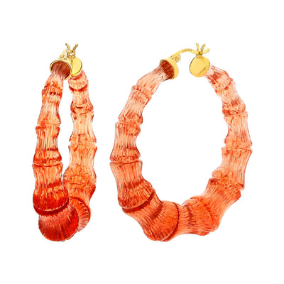 Grapefruit Lucite Bamboo Hoops