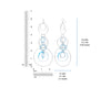 Blue Lucite and Silver Extra Long Drop Earrings DIMENSIONS