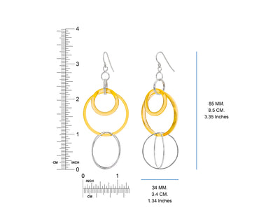 Yellow Lucite and Silver Axis Drop Earrings DIMENSIONS