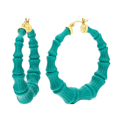 Teal Lucite Bamboo Hoops