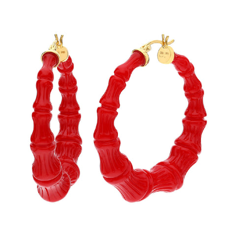 Red Lucite Bamboo Hoops
