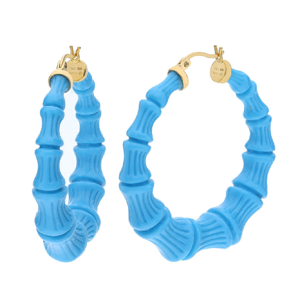 Turquoise Lucite Bamboo Hoops