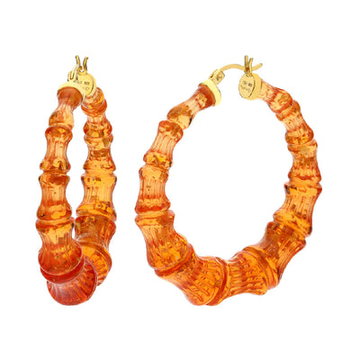 Blood Orange with Gold Flake Lucite Bamboo Hoops