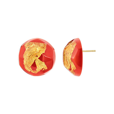 24K Gold Leaf Button Stud Earrings in Fiesta