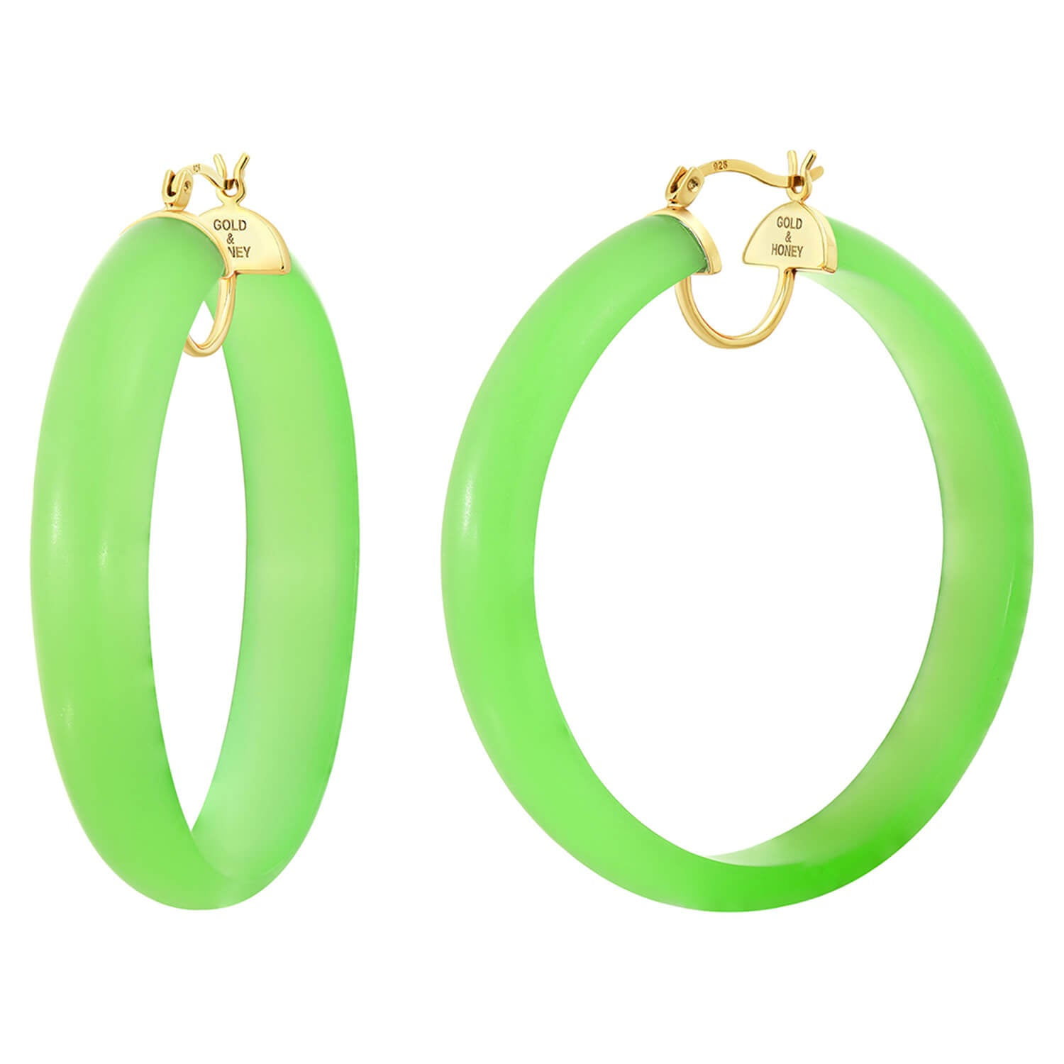 Frosted Lucite Hoops in Green