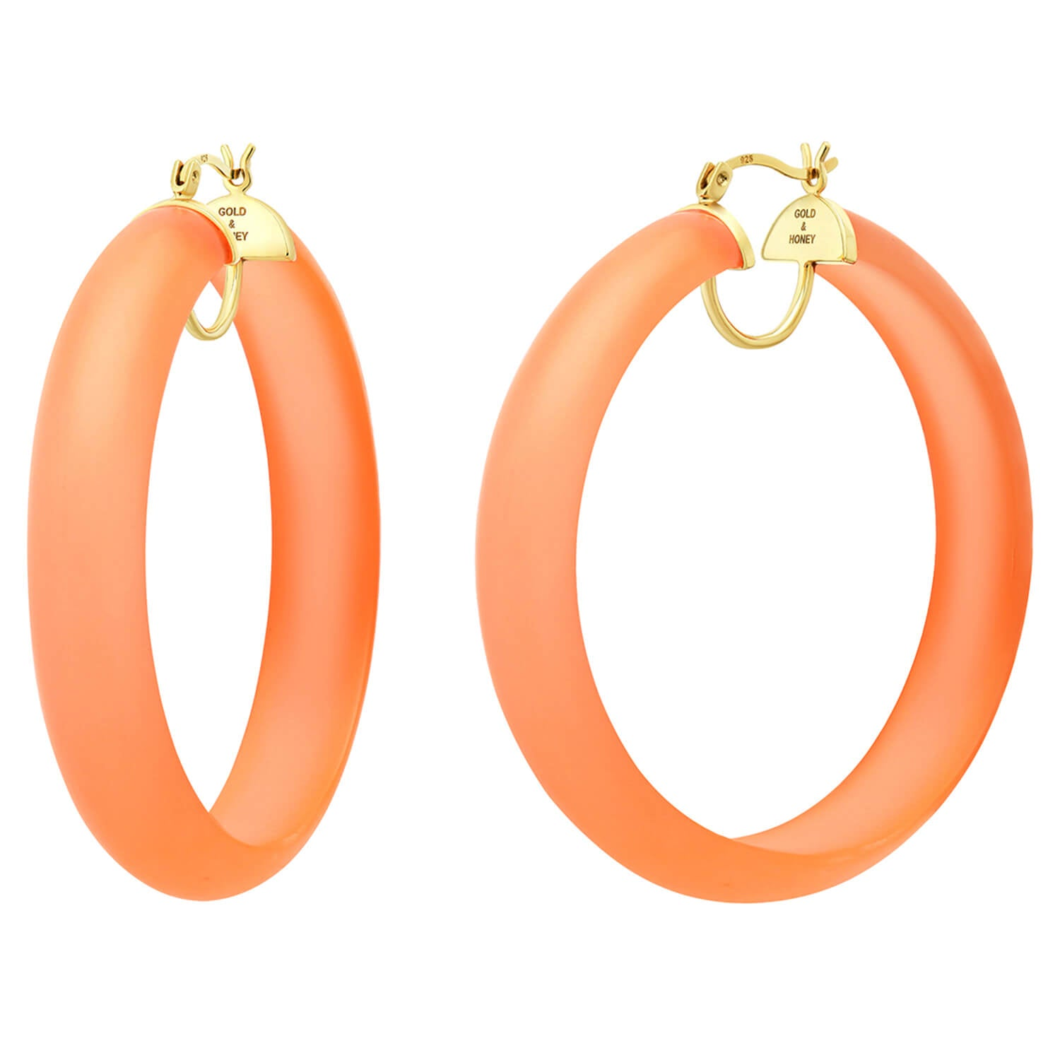 Frosted Lucite Hoops in Orange