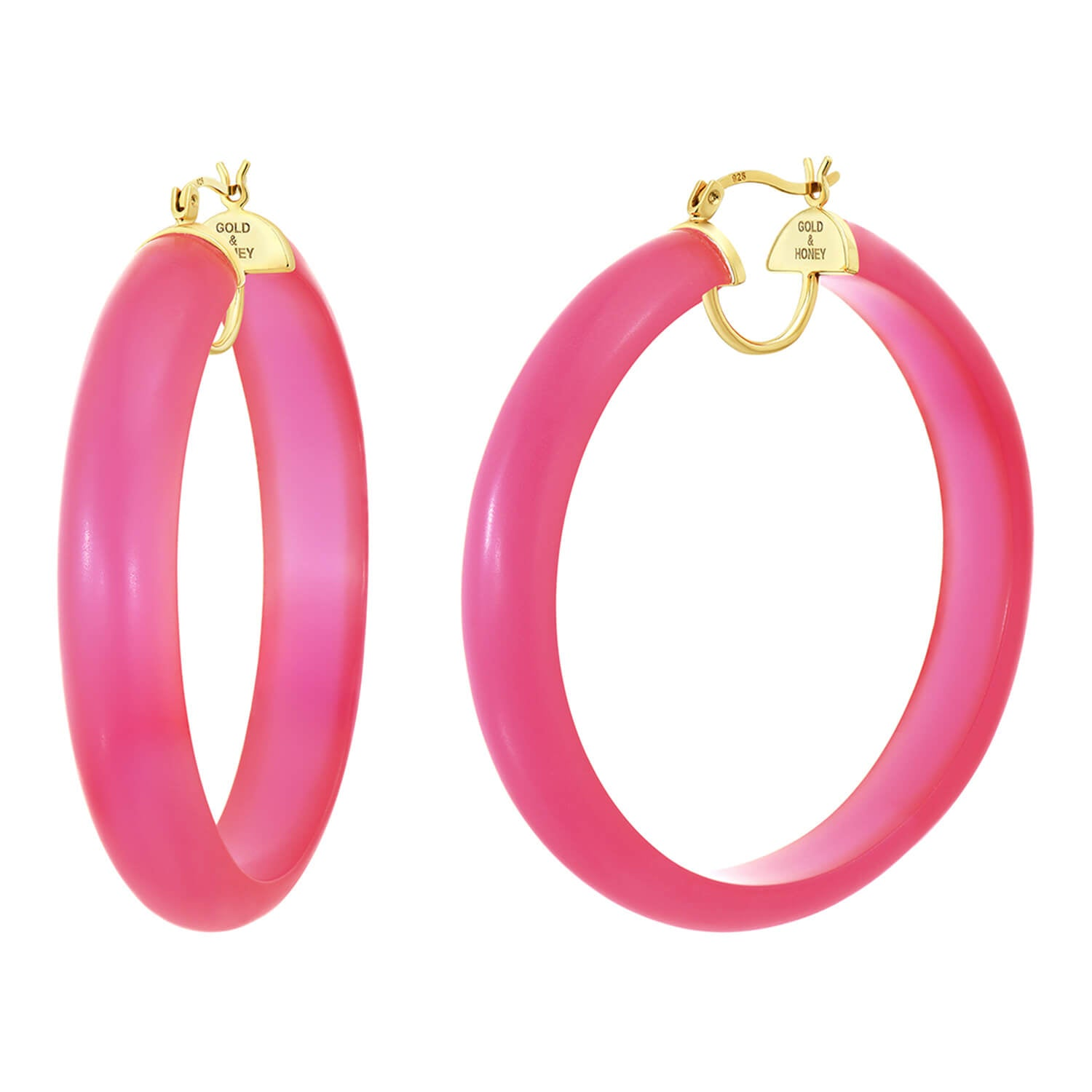 Frosted Lucite Hoops in Hot Pink