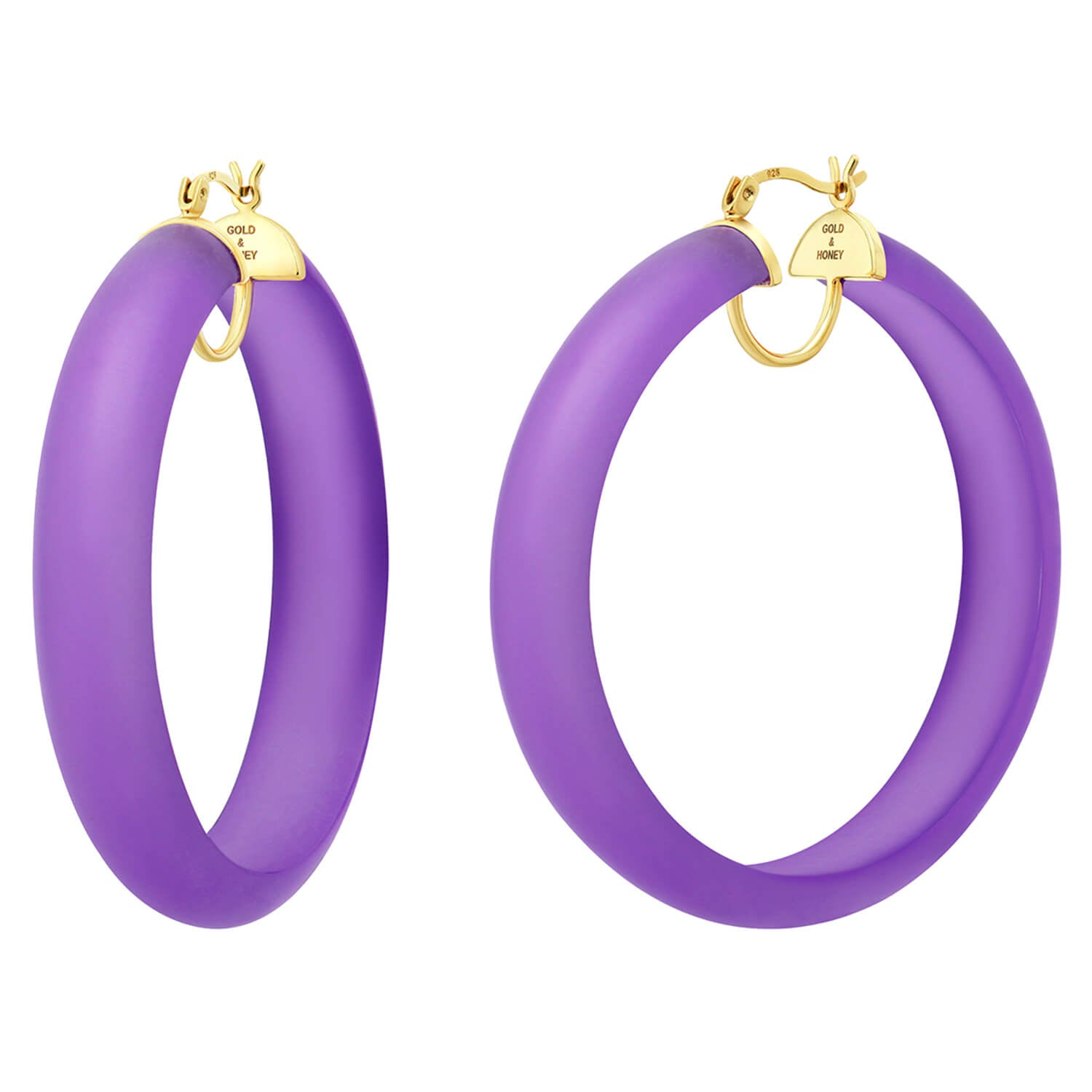 PRE-ORDER - Frosted Lucite Hoops in Purple