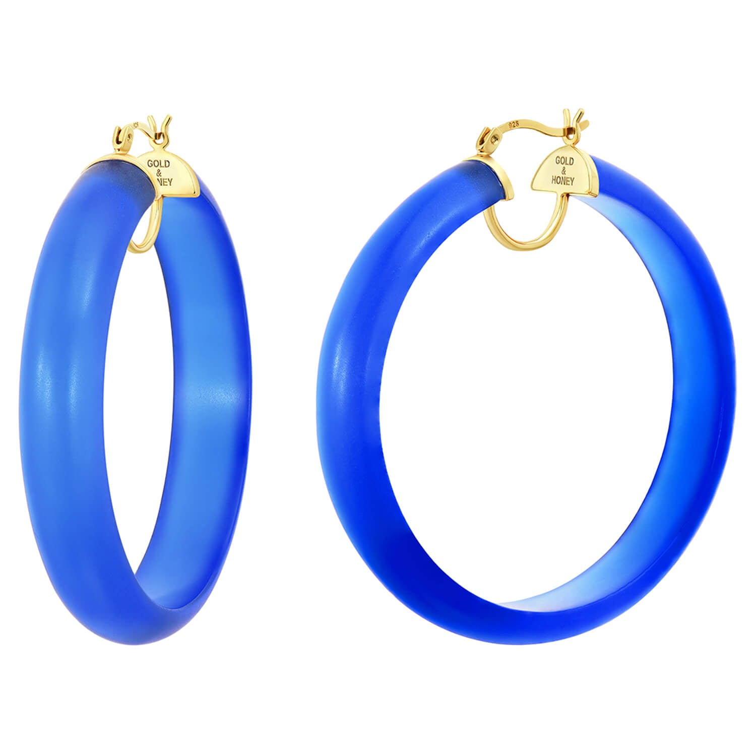 Frosted Lucite Hoops in Blue
