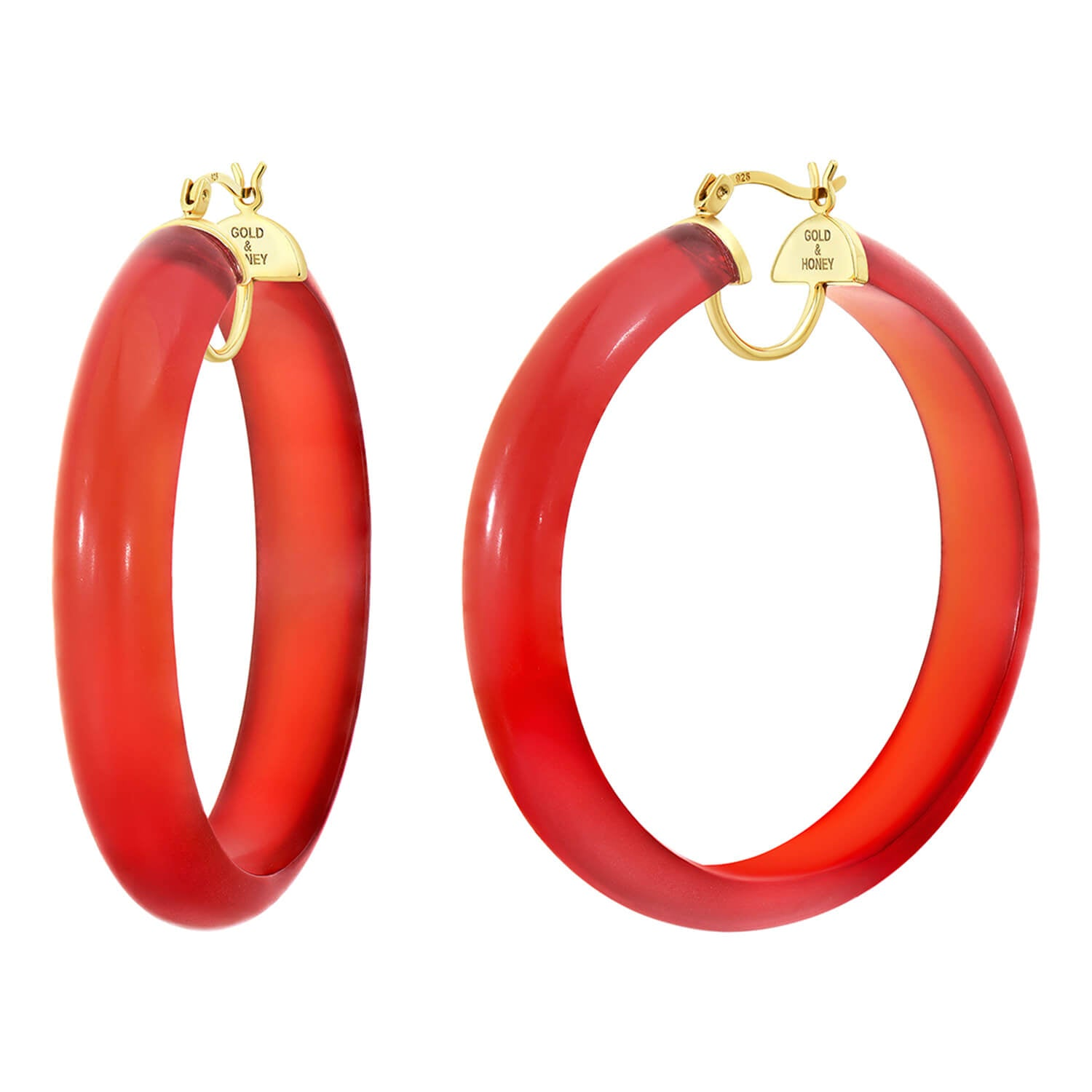 Frosted Lucite Hoops in Red