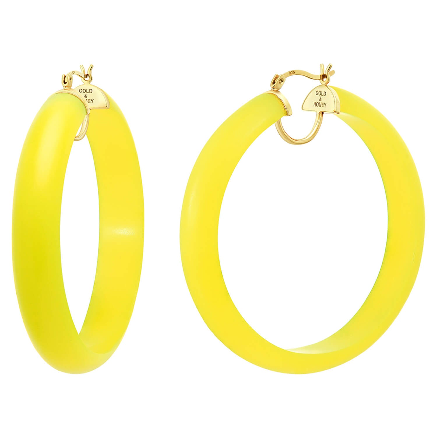 Frosted Lucite Hoops in Yellow