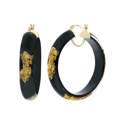 Large Round Gold Leaf Lucite Hoops