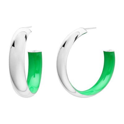 Inside Out Silver and Enamel Hoops in Green
