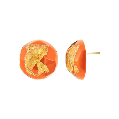 24K Gold Leaf Button Studs in Living Coral