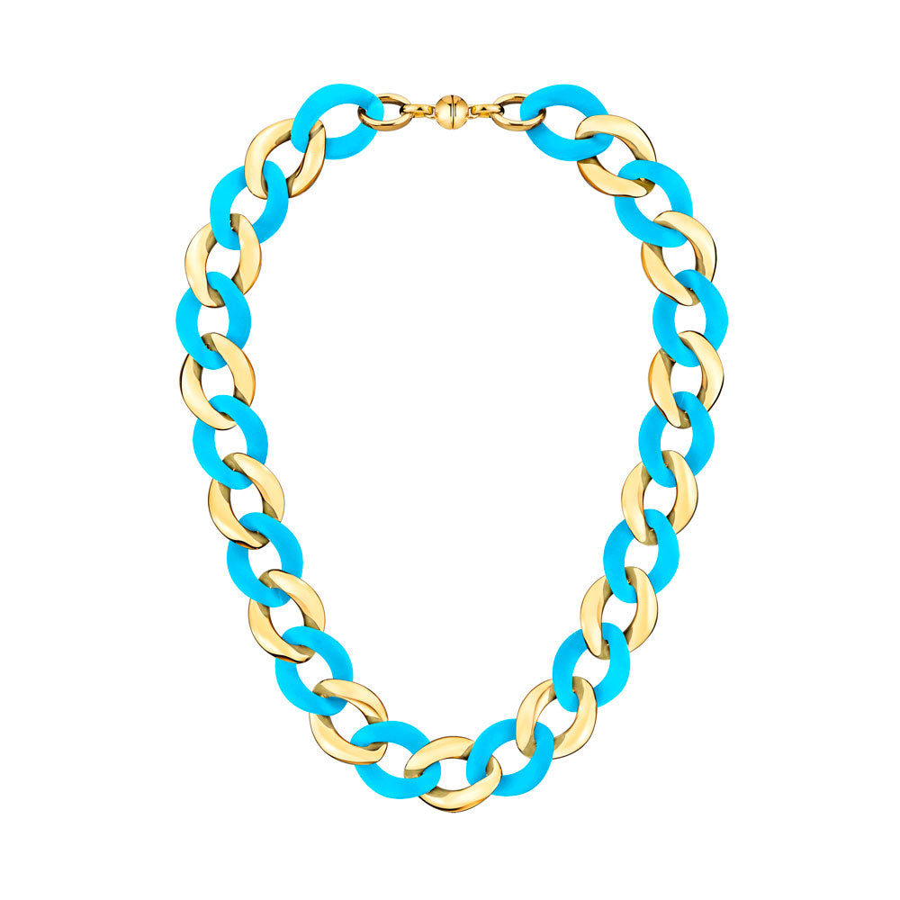 Turquiose Extra Large Curb Link Lucite Necklace