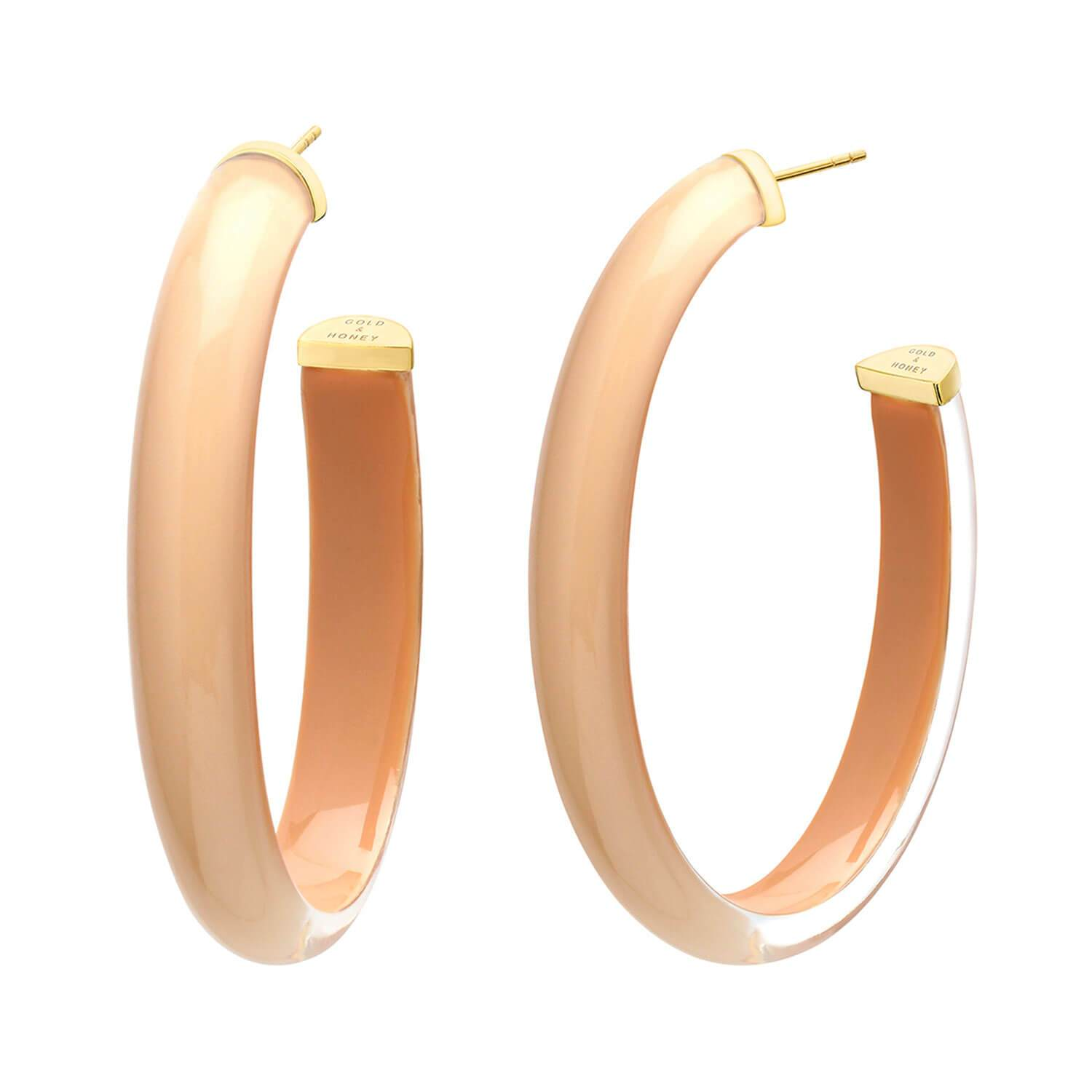 XL Oval Illusion Nude Lucite Hoops - NUDE4