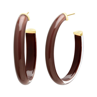 XL Oval Illusion Nude Lucite Hoops - NUDE5