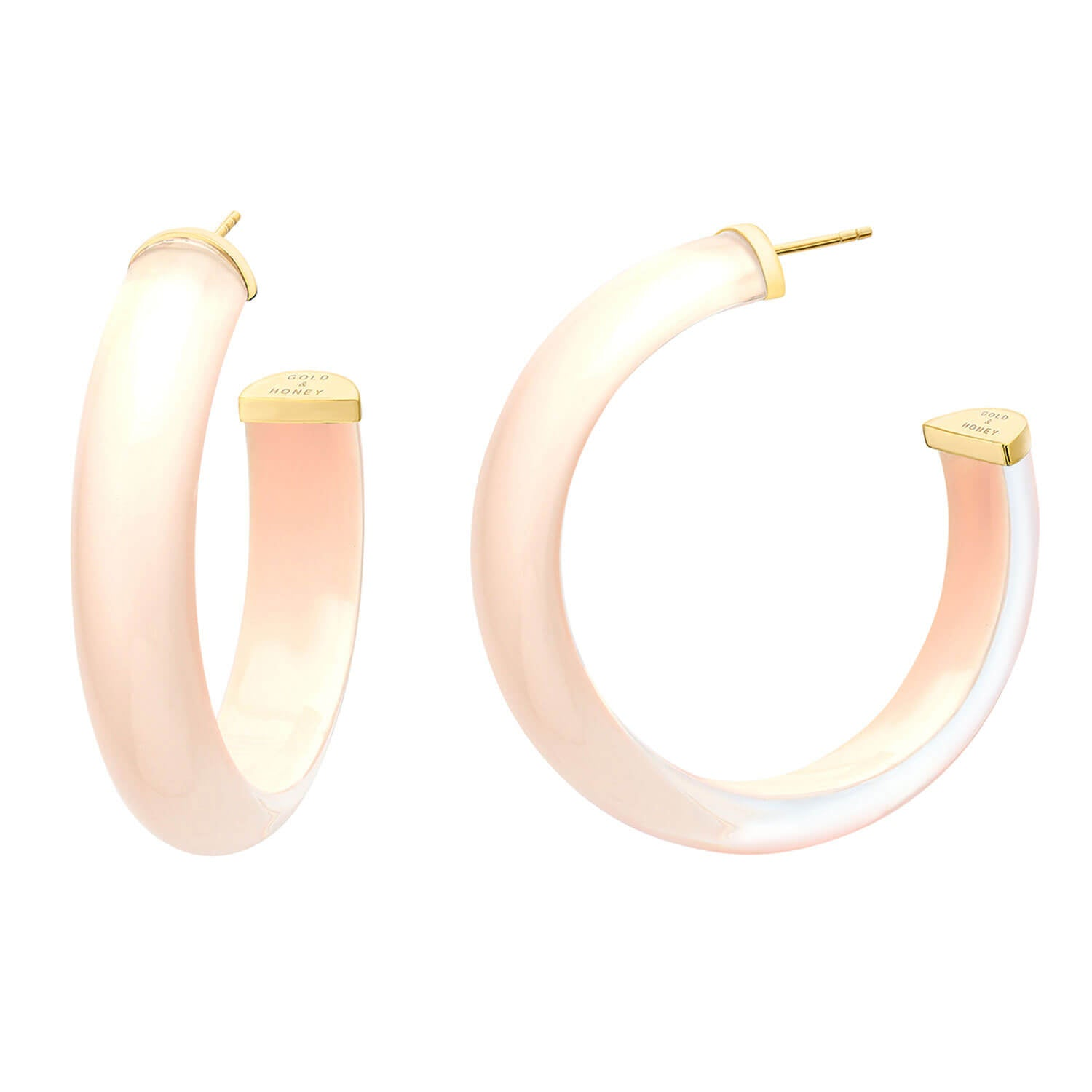 Medium Illusion Nude Lucite Hoops - #2