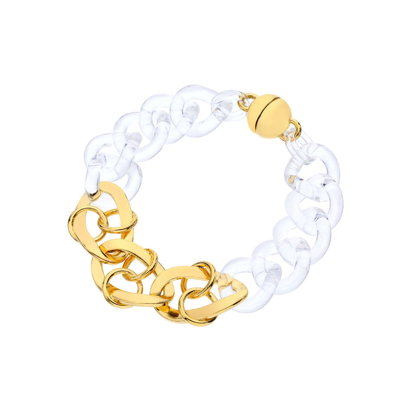 Clear & Gold Curb & Double Linked Lucite Bracelet