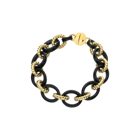 Black & Gold Cable Link Lucite Bracelet