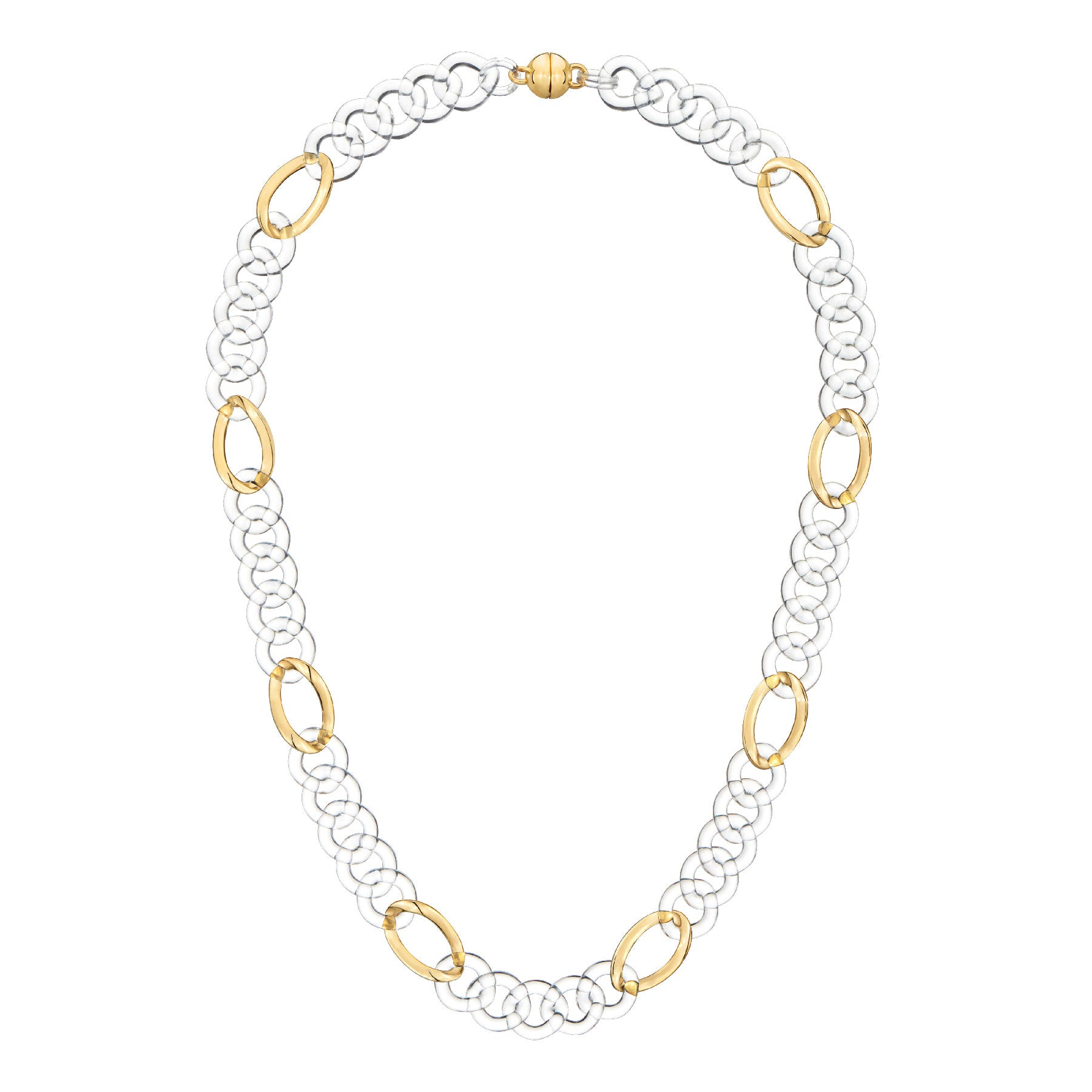 Clear Figaro Link Lucite Necklace