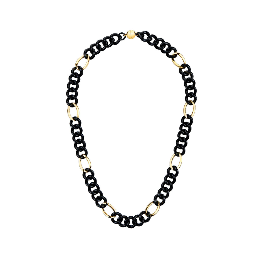 Black & Gold Curb Link Lucite Necklace