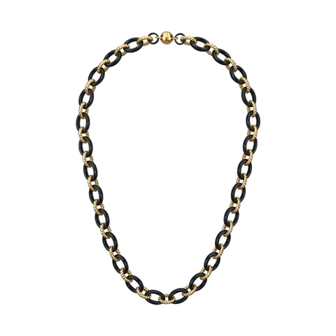 Black & Gold Cable Link Lucite Necklace
