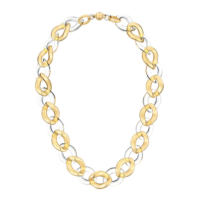 Clear Extra Large Curb Link Lucite Necklace GOLD