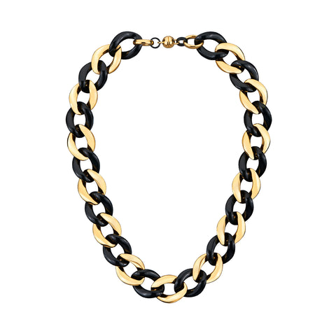Black Extra Large Curb Link Lucite Necklace GOLD