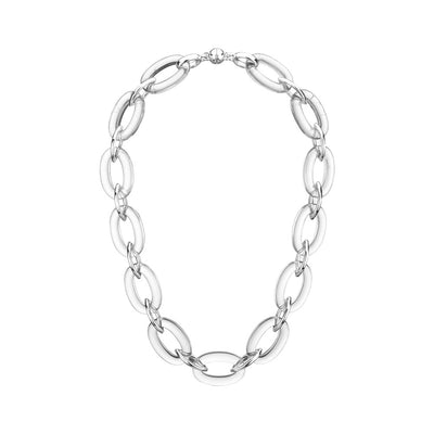 Clear Oval & Marquise Lucite Necklace SILVER