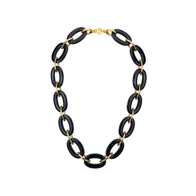 Black Oval & Marquise Lucite Necklace