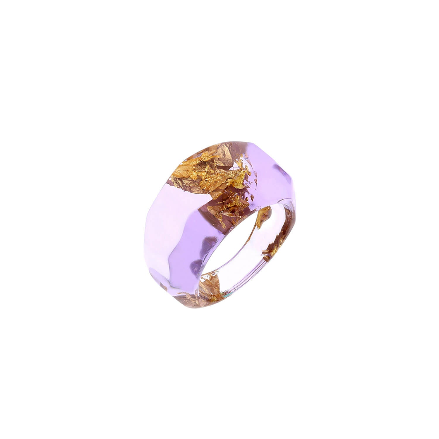Purple Lucite Ring with Gold Leaf