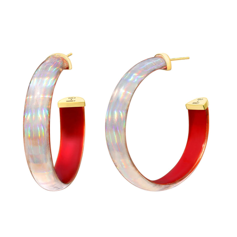 Rave Lucite Hoops in Red