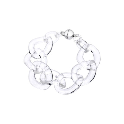 Clear Extra Large Curb Link Lucite Bracelet CLEAR
