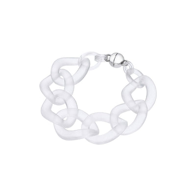 Clear Extra Large Curb Link Lucite Bracelet FROSTED