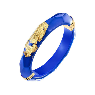 24K Gold Leaf Thin Faceted Lucite Bangle - ROYAL BLUE
