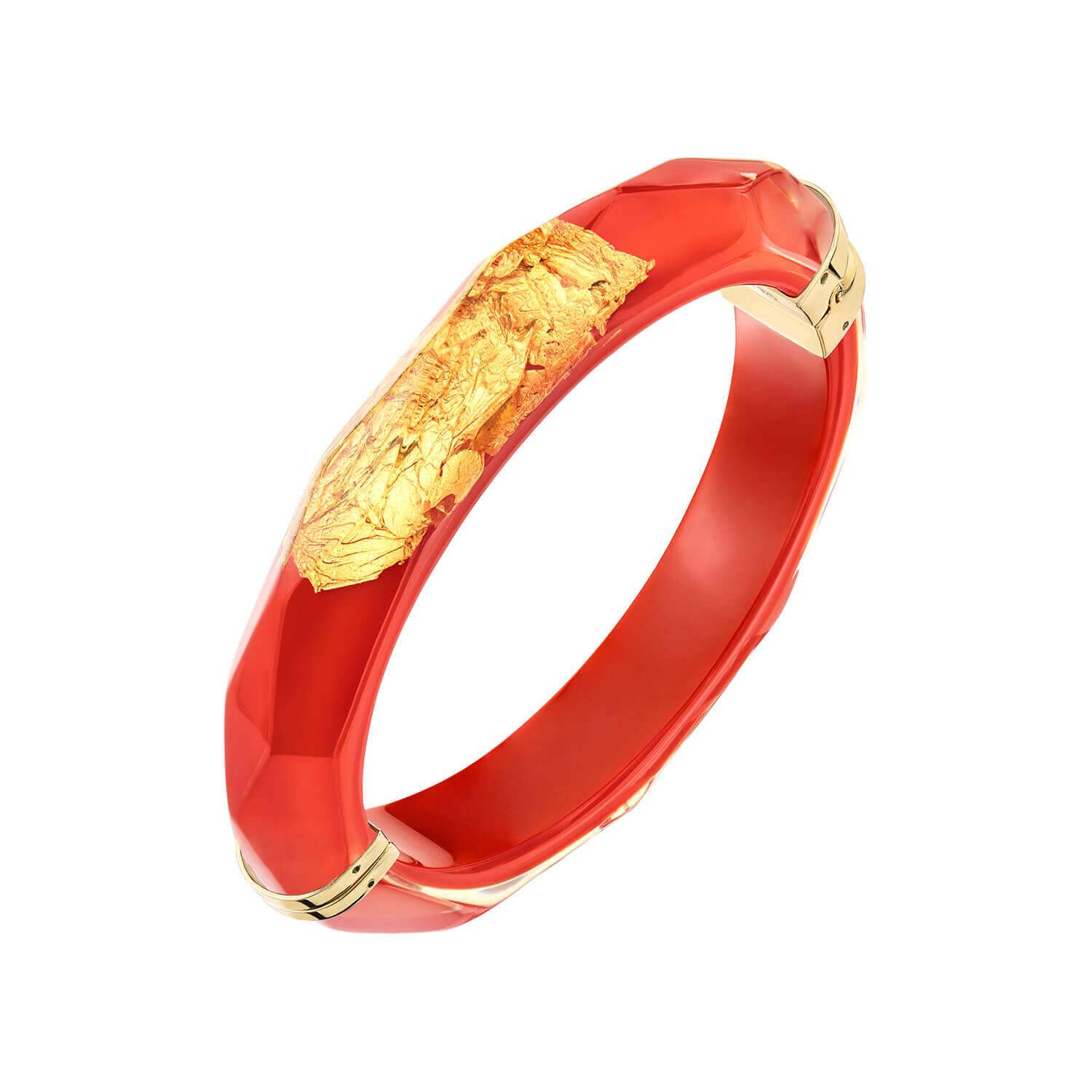 24K Gold Leaf Thin Faceted Lucite Bangle