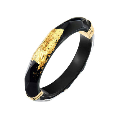24K Gold Leaf Thin Faceted Lucite Bangle - BLACK