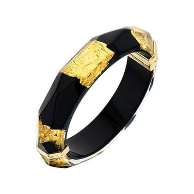 24K Gold Leaf Faceted Lucite Bangle