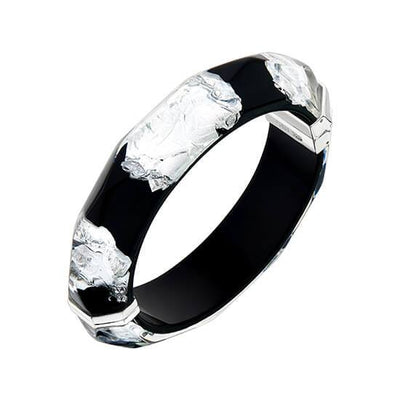 Silver Leaf Faceted Lucite Bangle