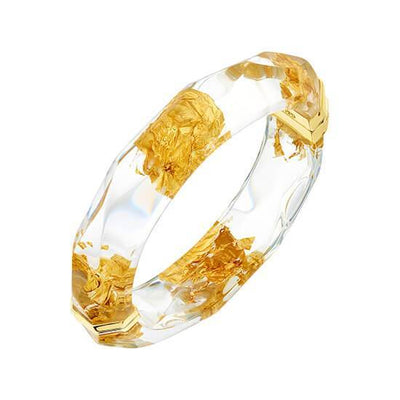 24K Gold Leaf Faceted Lucite Bangle in Clear